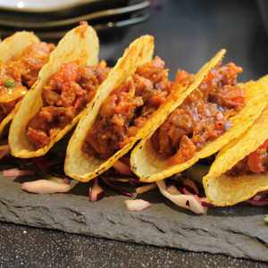 Pork tacos served on slates wedding & events catering