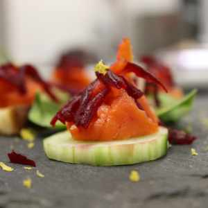Salmon and beetroot canapes on slates wedding & events catering